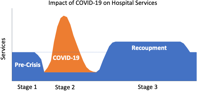 Graph depicting the impact of COVID-19 on hospital services.